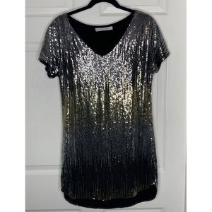 Laugh Cry Repeat Mini Shift Sequins Cocktail Dress